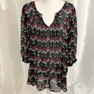 PERFECT for FALL    PRINT TOP  2X PLUS